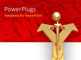PowerPlugs: PowerPoint template with golden man stands on path with two choices to choose from