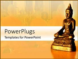 PowerPoint template displaying golden meditating yoga statue with a background of meditating monks