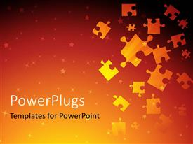 Presentation design consisting of golden puzzles falling from top with shades of red and yellow