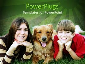 PowerPlugs: PowerPoint template with golden retriever in middle of two smiling kids lying on green lawn