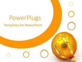 PowerPlugs: PowerPoint template with golden shinny Christmas tree ornament on a white background