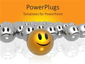 PowerPlugs: PowerPoint template with golden smiley leading silver smileys on reflective surface