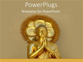 PowerPoint template displaying golden statue of Buddha holding hands in prayer with sun and rays in the background
