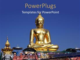 PowerPlugs: PowerPoint template with golden statue of Buddha and point of golden triangle over blue sky