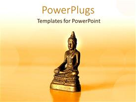PowerPoint template displaying golden statue of Buddha with sunset in yellow background