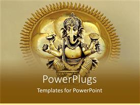 PowerPlugs: PowerPoint template with golden statue of Ganesh on depiction of sun with rays on tan background