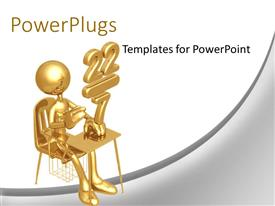 PowerPlugs: PowerPoint template with golden Student Studying Math At School Desk