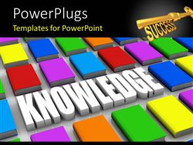 PowerPoint template displaying golden success key with 3D text KNOWLEDGE between colored books