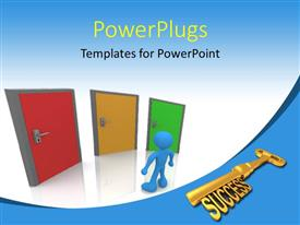PowerPlugs: PowerPoint template with golden SUCCESS key with man standing before three colored doors