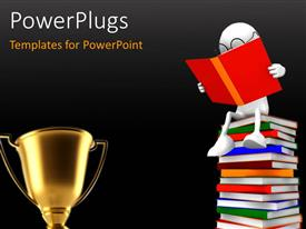 PowerPlugs: PowerPoint template with golden trophy with 3D man reading on pile of books with eye glasses