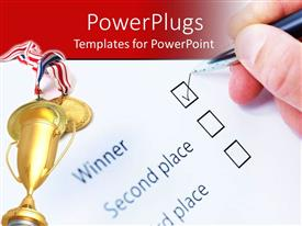 PowerPlugs: PowerPoint template with golden trophy awarded for with hand ticking winner check box on paper