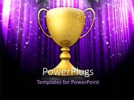 PowerPlugs: PowerPoint template with golden trophy on black stand with abstract glowing purple background
