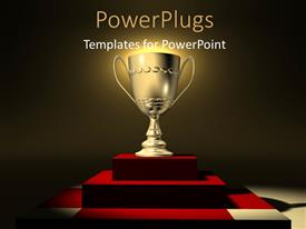 PowerPoint template displaying golden trophy glowing on red presentation platform