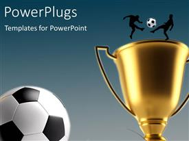 PowerPlugs: PowerPoint template with golden trophy with silhouette of two soccer players and soccer