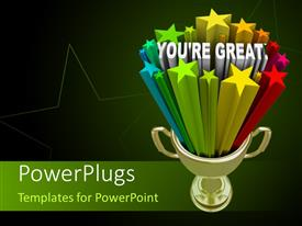 PowerPoint template displaying golden trophy with the words You're Great on a black background
