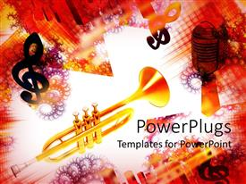PowerPlugs: PowerPoint template with golden trumpet with treble clef, microphone and colorful spiral and grid background