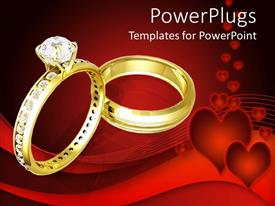 PowerPlugs: PowerPoint template with golden wedding rinds with diamonds on heart red background