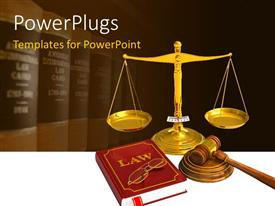 PowerPoint template displaying golden weight scales, code of laws, glasses and wooden mallet with law books in background
