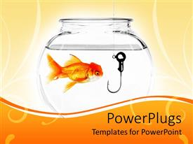 PowerPlugs: PowerPoint template with goldfish in fishbowl with fishing hook in bowl on cream and orange background