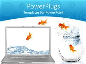 PowerPoint template displaying goldfish jumping out of aquarium into laptop screen on white background