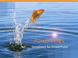 PowerPlugs: PowerPoint template with goldfish jumping out of the water with splashing water around fish