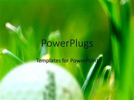 PowerPlugs: PowerPoint template with a golf ball with blurred green background