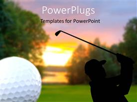 PowerPlugs: PowerPoint template with golf ball in corner of scene showing silhouette of golfer on course
