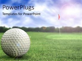 PowerPlugs: PowerPoint template with a golf ball in a golf course ready to be hit
