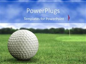 PowerPlugs: PowerPoint template with golf ball on the golf playground on green short grass with golf flag in the back and trees with light blue sky in the background