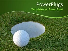 PowerPoint template displaying golf ball on green just centimeters from the hole