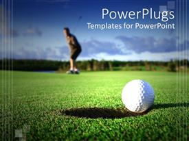 PowerPoint template displaying golf ball near the hole and golf player faded in the background on golf field with light blue sky background
