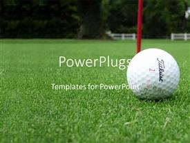 PowerPoint template displaying golf ball next to hole on green golf course