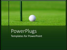 PowerPlugs: PowerPoint template with golf ball next to hole in green golf course