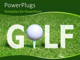 PowerPoint template displaying golf ball on tee in the word GOLF over green grass