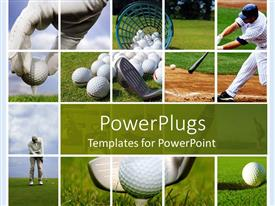 PowerPlugs: PowerPoint template with golf and baseball collage with balls, tees, clubs, bat, field, course, grass, players
