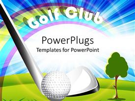 PowerPlugs: PowerPoint template with golf club putter hitting golf ball, golf club words, rainbow and blue sky