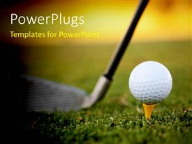 PowerPoint template displaying golf club resting on green behind ball and tee