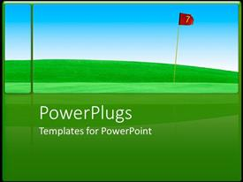 PowerPlugs: PowerPoint template with a golf course with a clear sky in the background