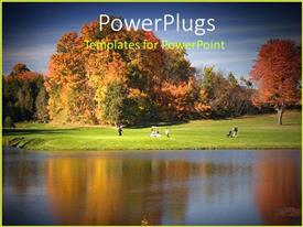 PowerPoint template displaying golf course by a lake, tree leaves turning color