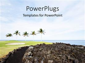 PowerPlugs: PowerPoint template with golf course with palm trees on Lava Ocean Shore of Kone Island