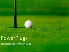 PowerPlugs: PowerPoint template with golf course with white golf ball next to hole