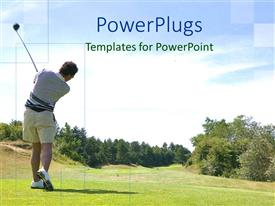 PowerPlugs: PowerPoint template with a golfer hitting the ball with greenery in the background