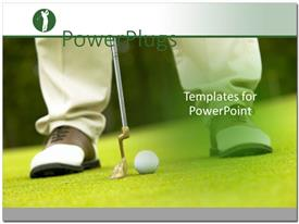 PowerPoint template displaying golfer's feet lining up shot with putter and golf ball