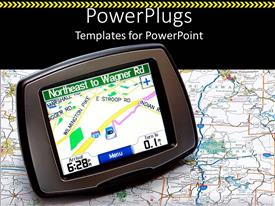 PowerPlugs: PowerPoint template with a gps device in the picture with a map in the background
