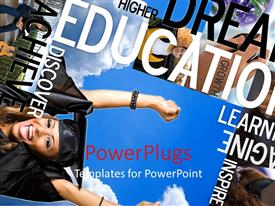 PowerPlugs: PowerPoint template with a graduate being happy with a lot of words in the background