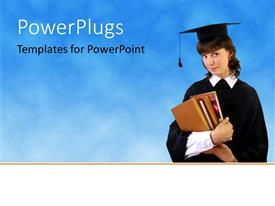 PowerPoint template displaying a graduate with a bluish background