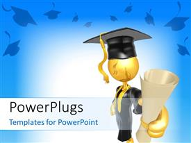 PowerPlugs: PowerPoint template with a graduate with a degree in his hands