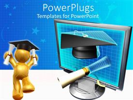 PowerPoint template displaying a graduate with degrees in both hands