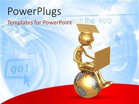 PowerPlugs: PowerPoint template with a graduate with a globe and a laptop