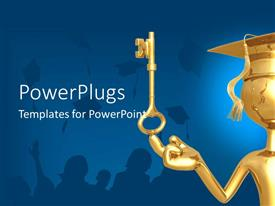 PowerPlugs: PowerPoint template with a graduate with a golden key and bluish background